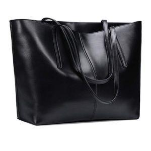 Rustic Town Genuine Leather Black Tote Laptop Bag